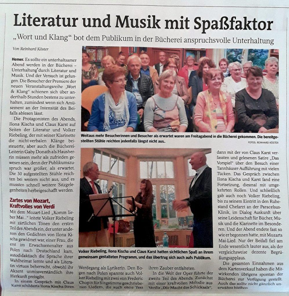 Zeitungsartikel Wort und Klang
