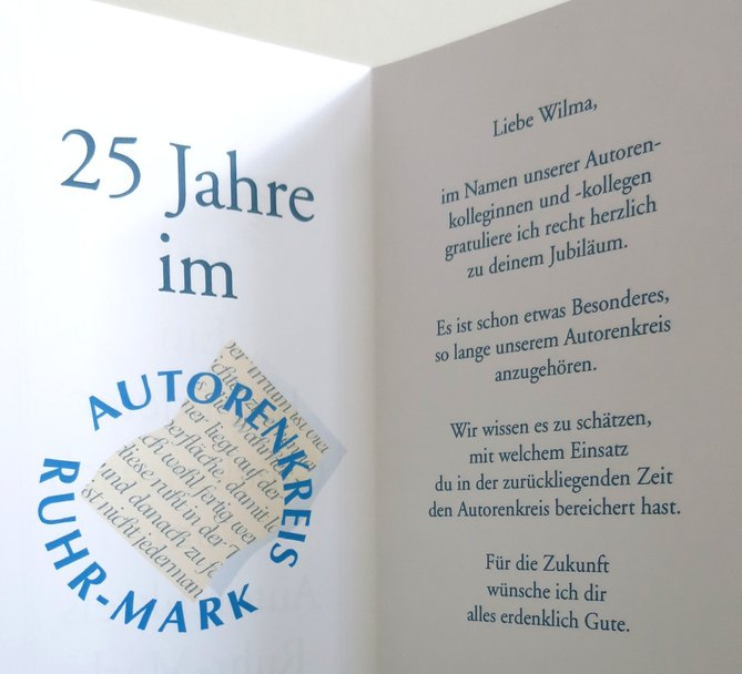 Wilma Frohne 25 - Jahre Autorenkreis Ruhr Mark